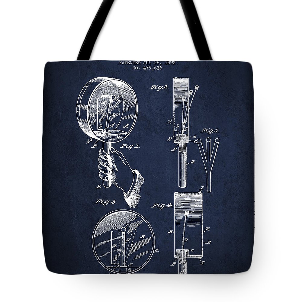 Hand Drum Tote Bag featuring the digital art Droop Hand Drum Patent Drawing From 1892 - Navy Blue by Aged Pixel