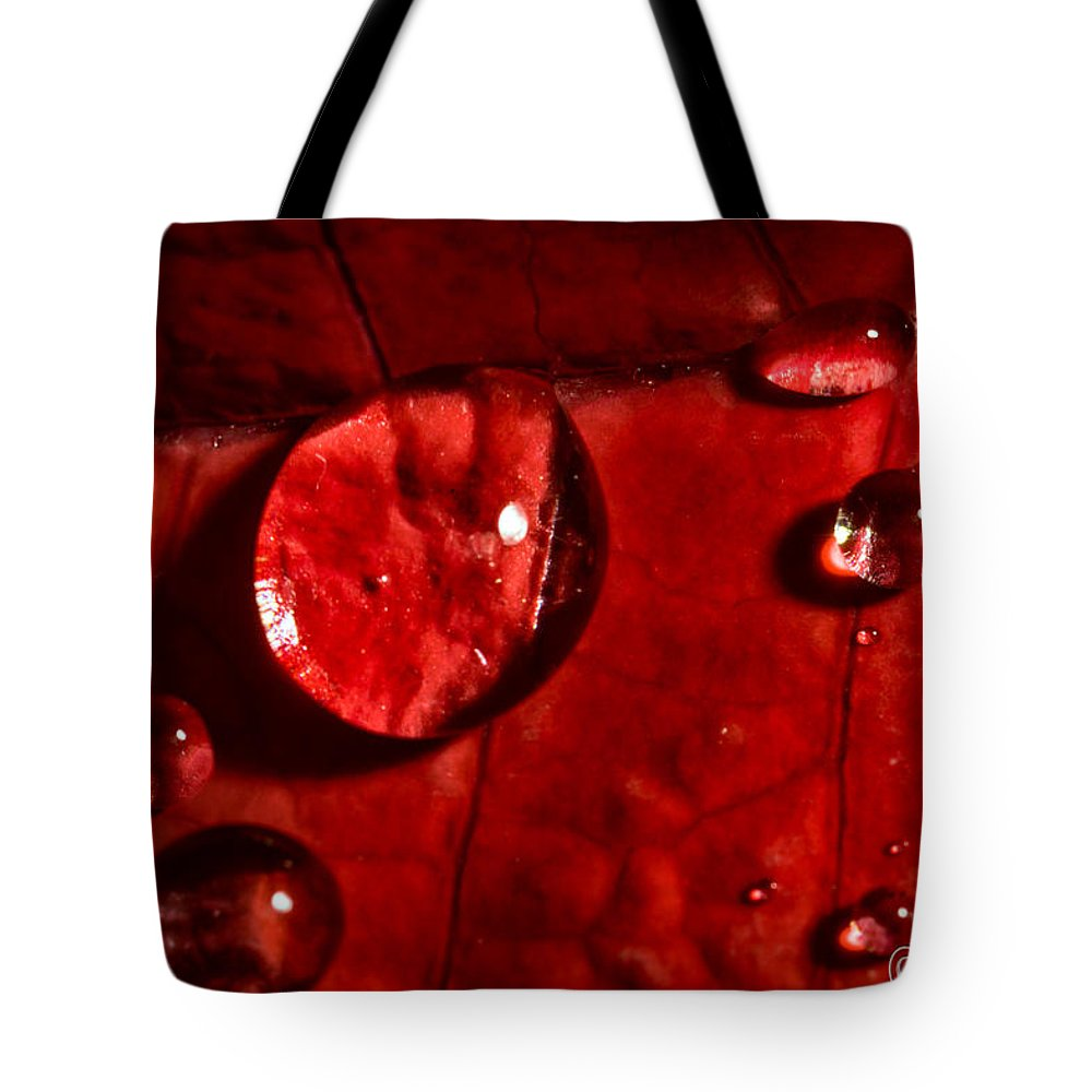 Christopher Holmes Photography Tote Bag featuring the photograph Droplets On Red by Christopher Holmes