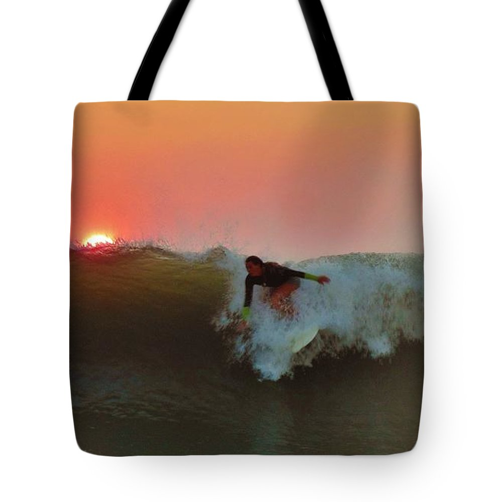 Mark Lemmon Cape Hatteras Nc The Outer Banks Photographer Subjects From Sunrise Tote Bag featuring the photograph Dropping In At Sunrise 5 10/2 by Mark Lemmon