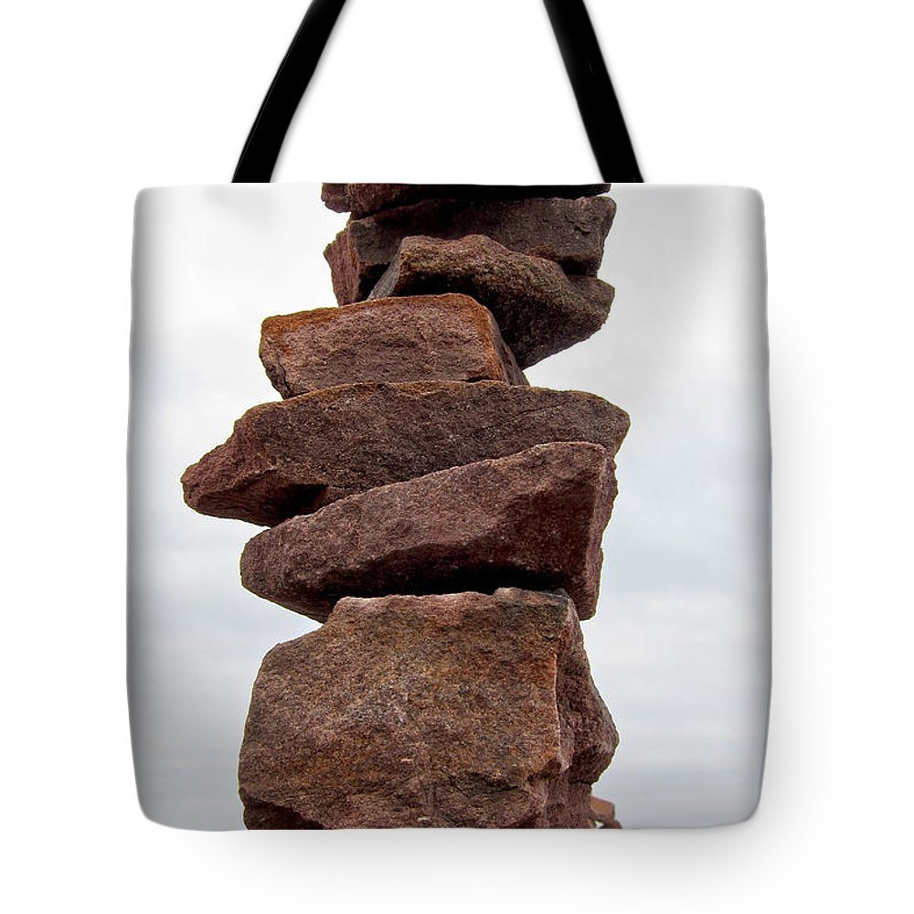 Rocks Tote Bag featuring the photograph Druid Cairn by Olivier Le Queinec