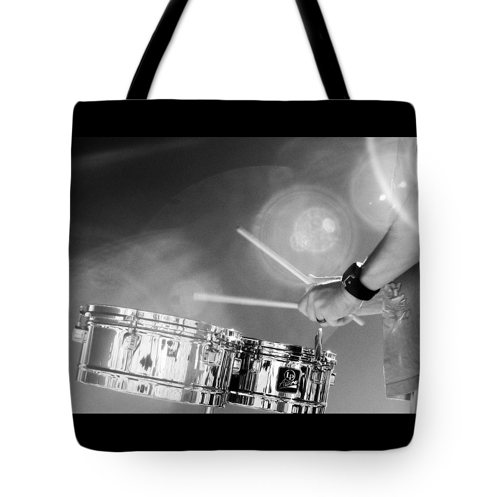 Drumming To The Sunset At The Venice Beach California Drum Circle. Tote Bag featuring the photograph Drum And Sun by Jennifer Ann Henry