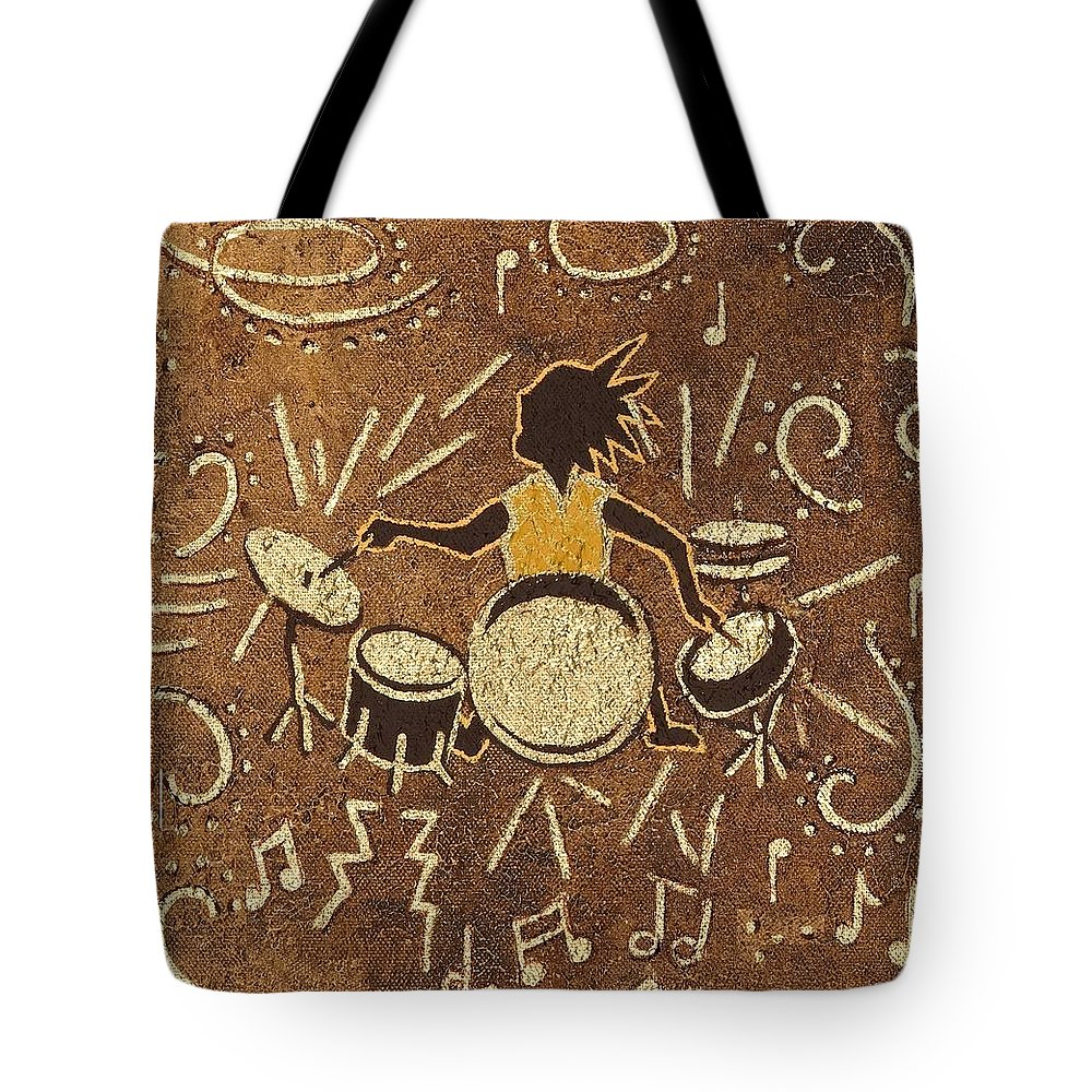 Kokopelli Tote Bag featuring the painting Drummer by Katherine Young-Beck