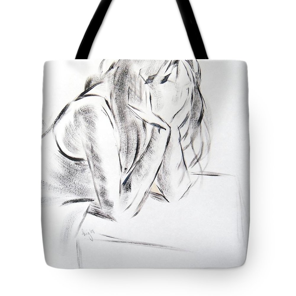 Black Tote Bag featuring the painting Dry Brush Painting Of A Young Womans Face by Mike Jory