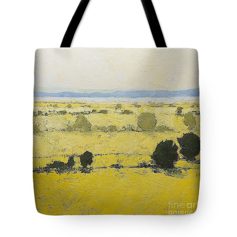 Landscape Tote Bag featuring the painting Dry Grass by Allan P Friedlander