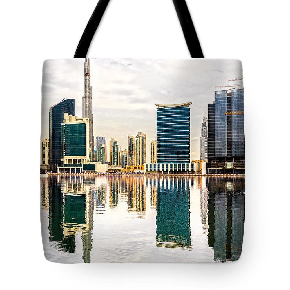 Dubai Tote Bag featuring the photograph Dubai Downtown - by Luciano Mortula