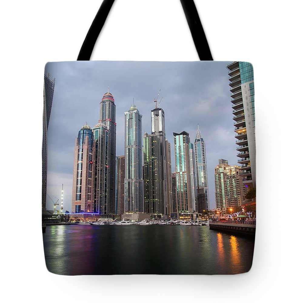 Financial District Tote Bag featuring the photograph Dubai Marina Afternoon by Brad Rickerby