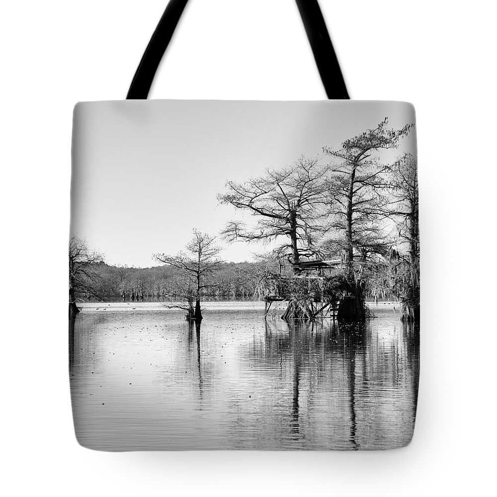 Caddo Lake Tote Bag featuring the photograph Duck Blind On Caddo Lake by Mary Lee Dereske