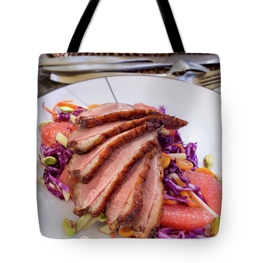 Kitchen Knife Tote Bag featuring the photograph Duck Breast With Red Cabbage Salad by Katya Lyukum