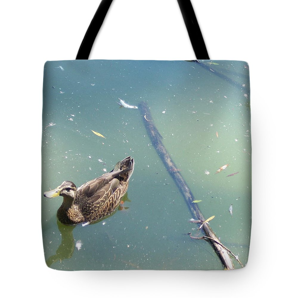 Duck Tote Bag featuring the photograph Duck In Pond by Michelle Miron-Rebbe