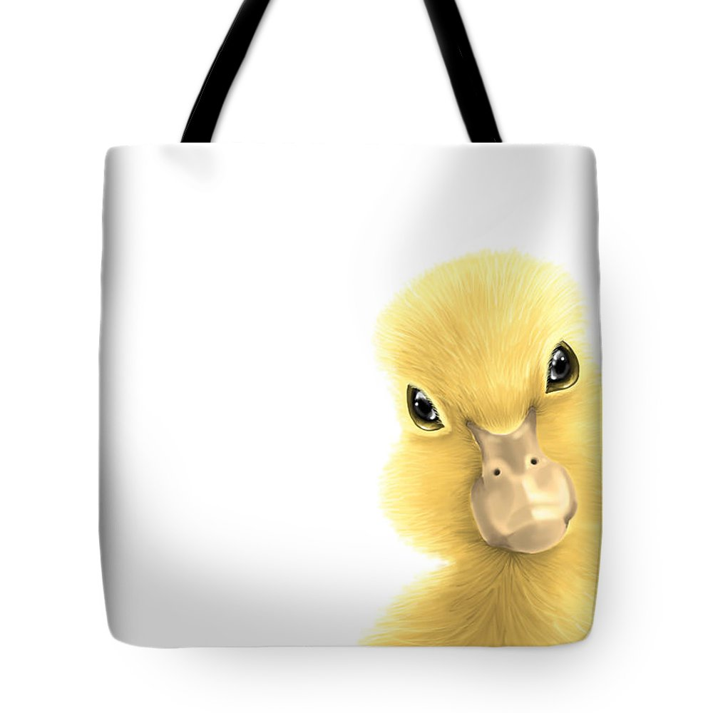 Digital Tote Bag featuring the painting Duck by Veronica Minozzi