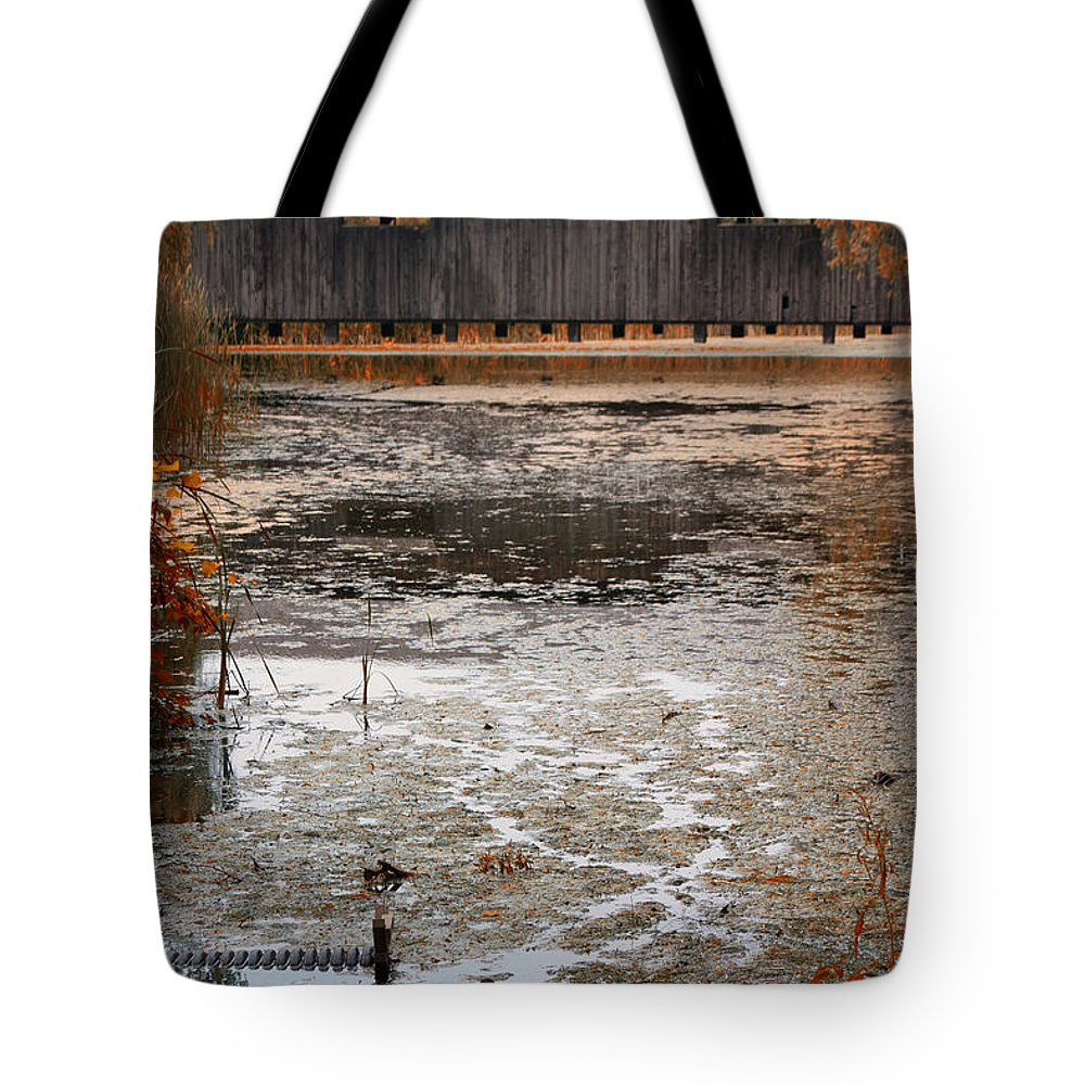 Covered Bridge Tote Bag featuring the photograph Ducking Under The Bridge by Jeff Folger