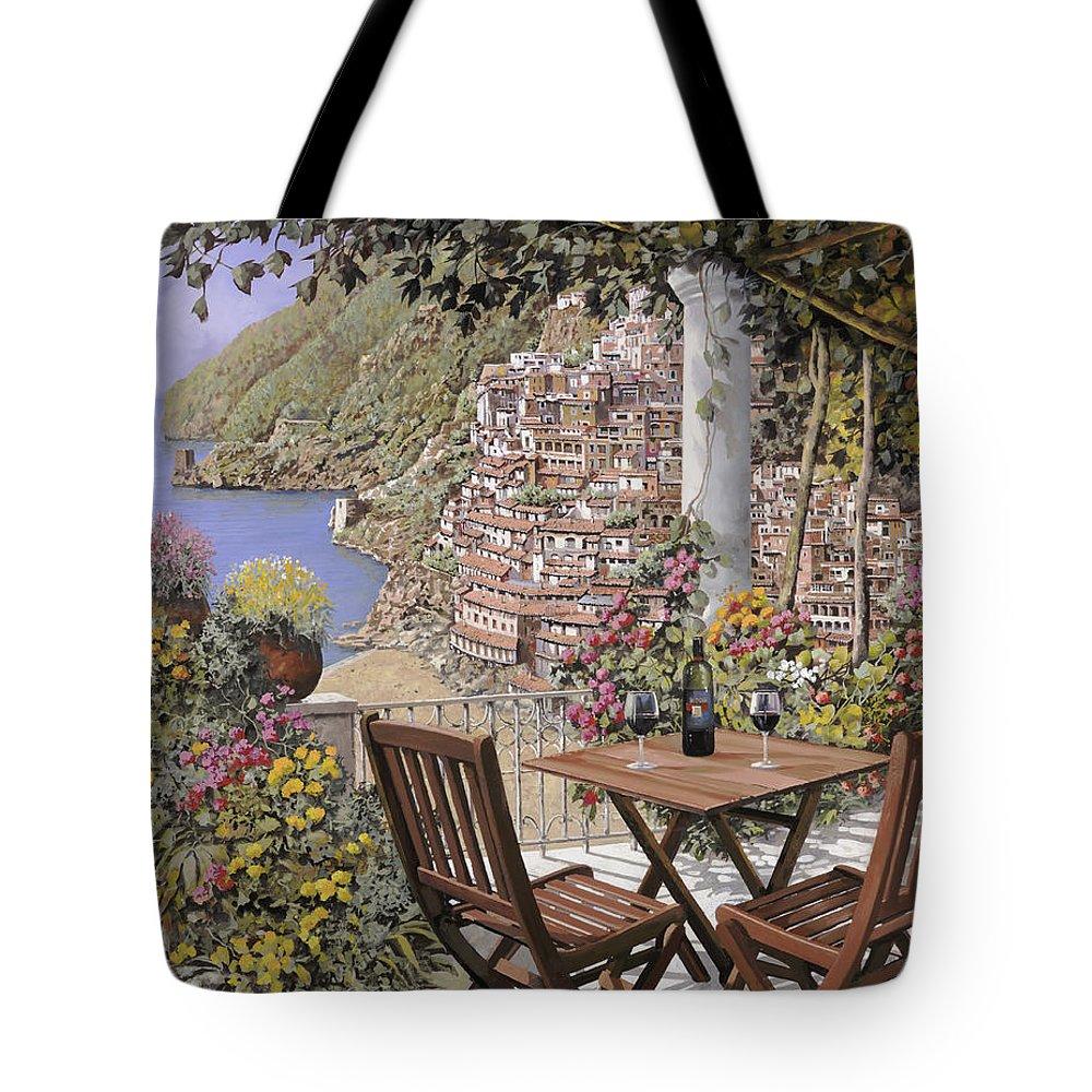 Positano Tote Bag featuring the painting aperitivo a Positano by Guido Borelli