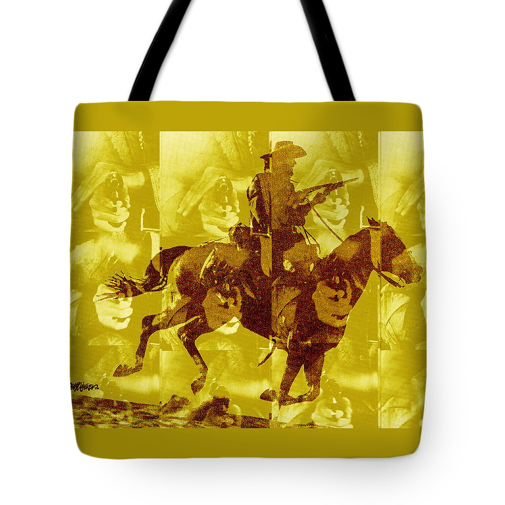Clint Eastwood Tote Bag featuring the digital art Duel In The Saddle 1 by Seth Weaver