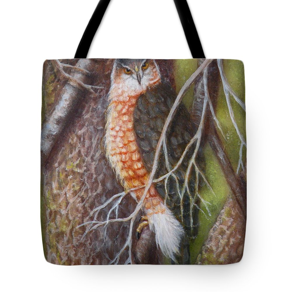 Hawk Tote Bag featuring the painting Red Shoulder Hawk by Lora Duguay