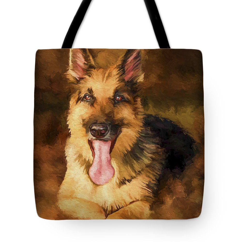German Shepherd Tote Bag featuring the painting Duke by David Wagner