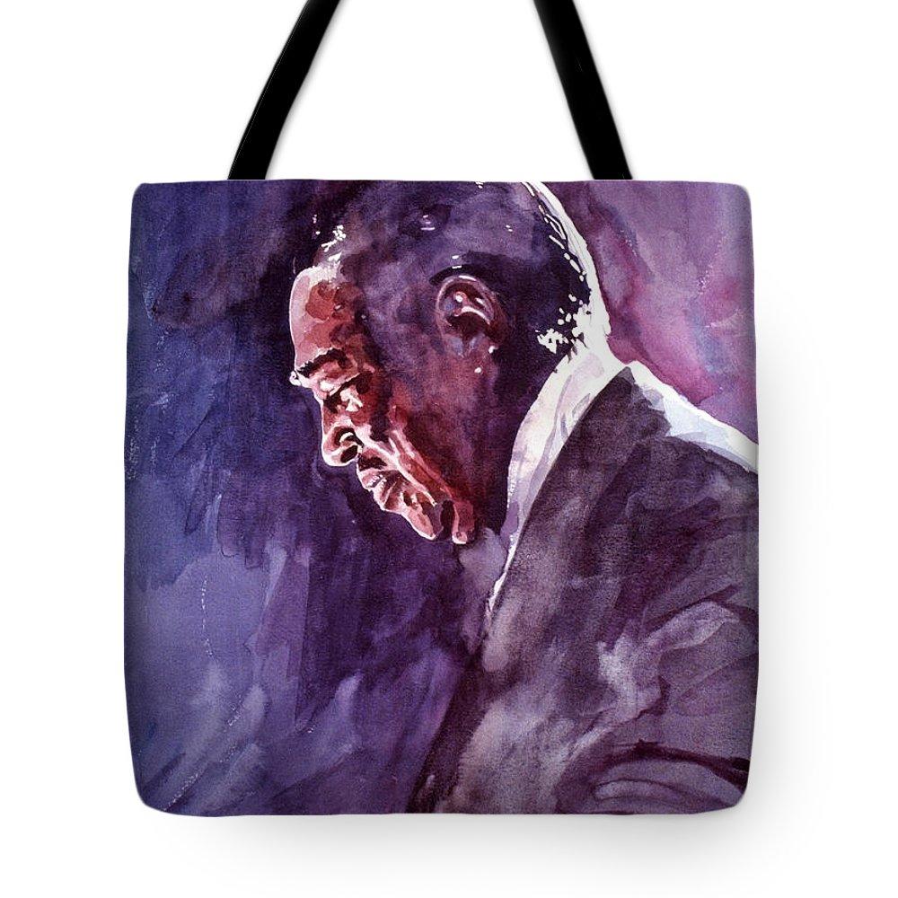 Duke Ellington Tote Bag featuring the painting Duke Ellington Mood Indigo Sounds by David Lloyd Glover