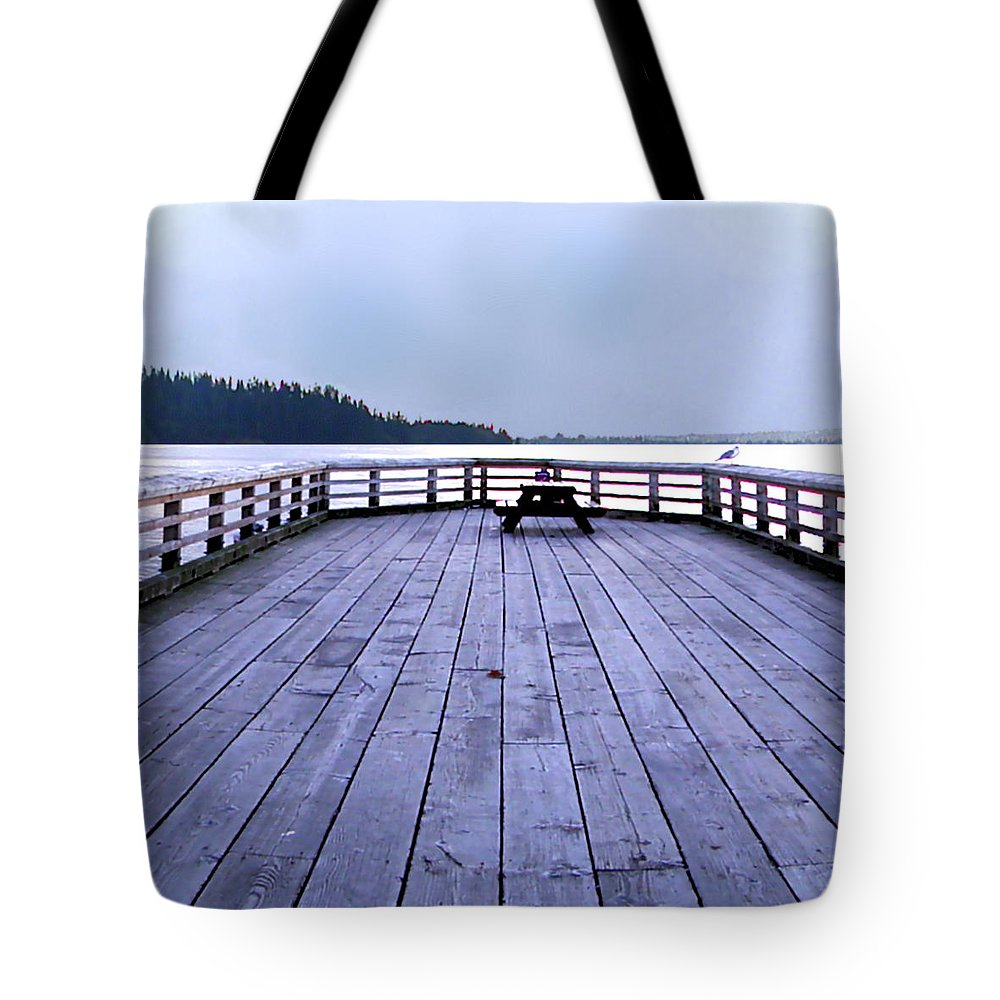Ocean Tote Bag featuring the digital art West Vancouver Dundarave Triptych Centre Panel by Patricia Keith
