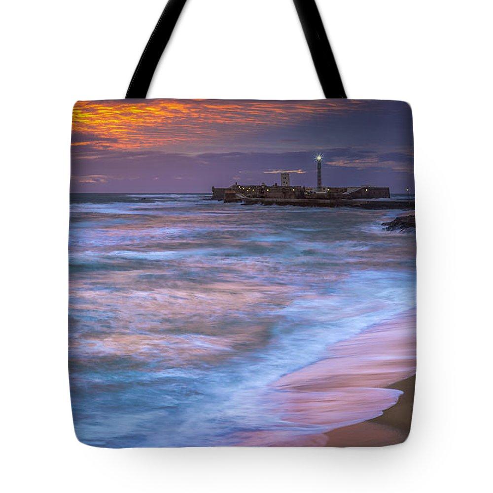 Andalucia Tote Bag featuring the photograph Dusk At La Caleta Beach Cadiz Spain by Pablo Avanzini