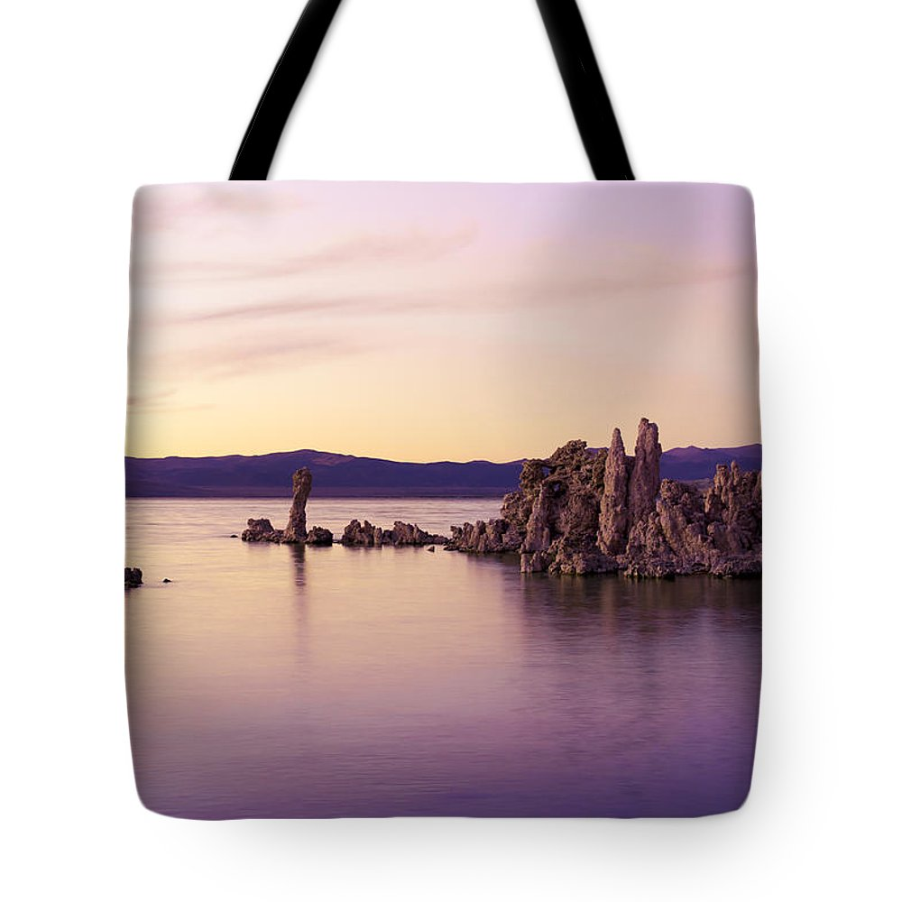 Mono Lake Tote Bag featuring the photograph Dusk At Mono Lake by Priya Ghose