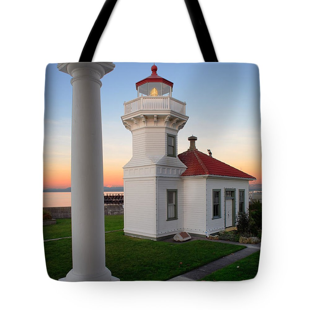 America Tote Bag featuring the photograph Dusk At Mukilteo Lighhouse by Inge Johnsson