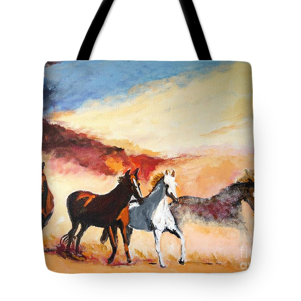 Horses Tote Bag featuring the painting Dust In The Wind by Judy Kay
