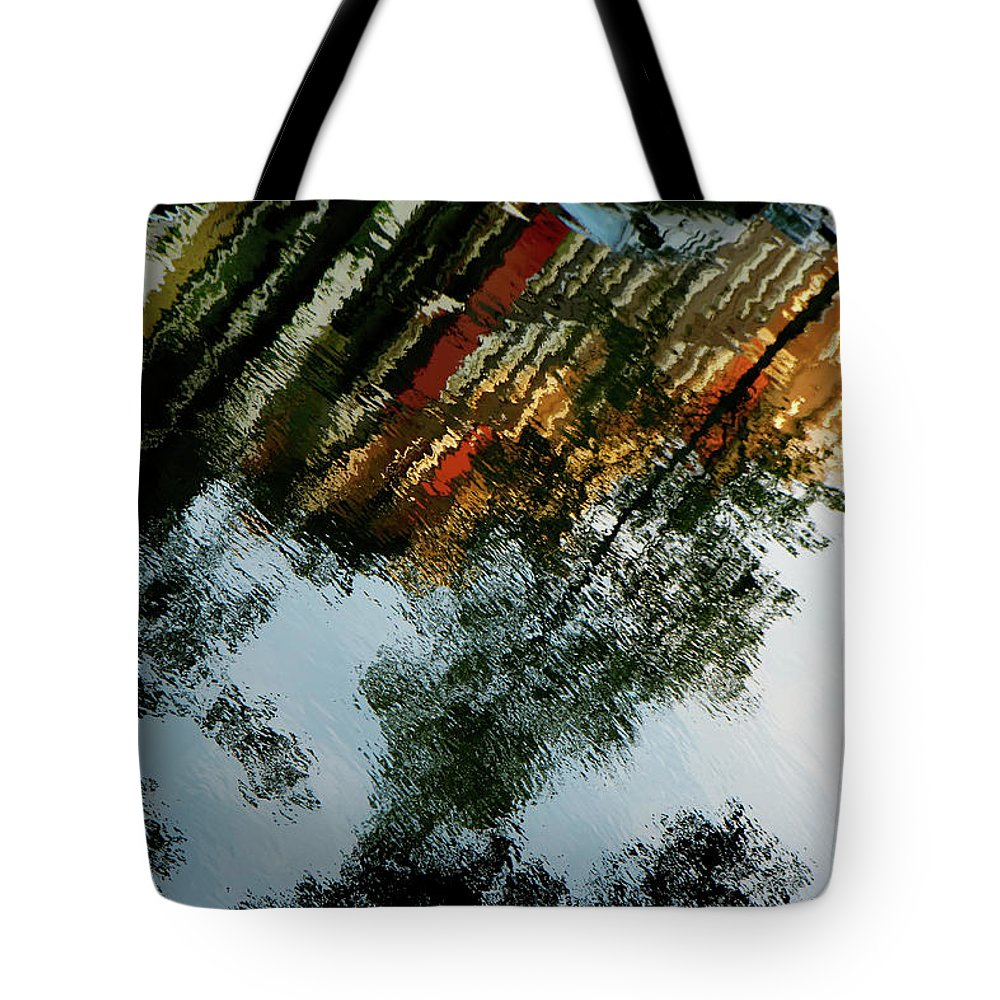Kg Tote Bag featuring the photograph Dutch Canal Reflection by KG Thienemann
