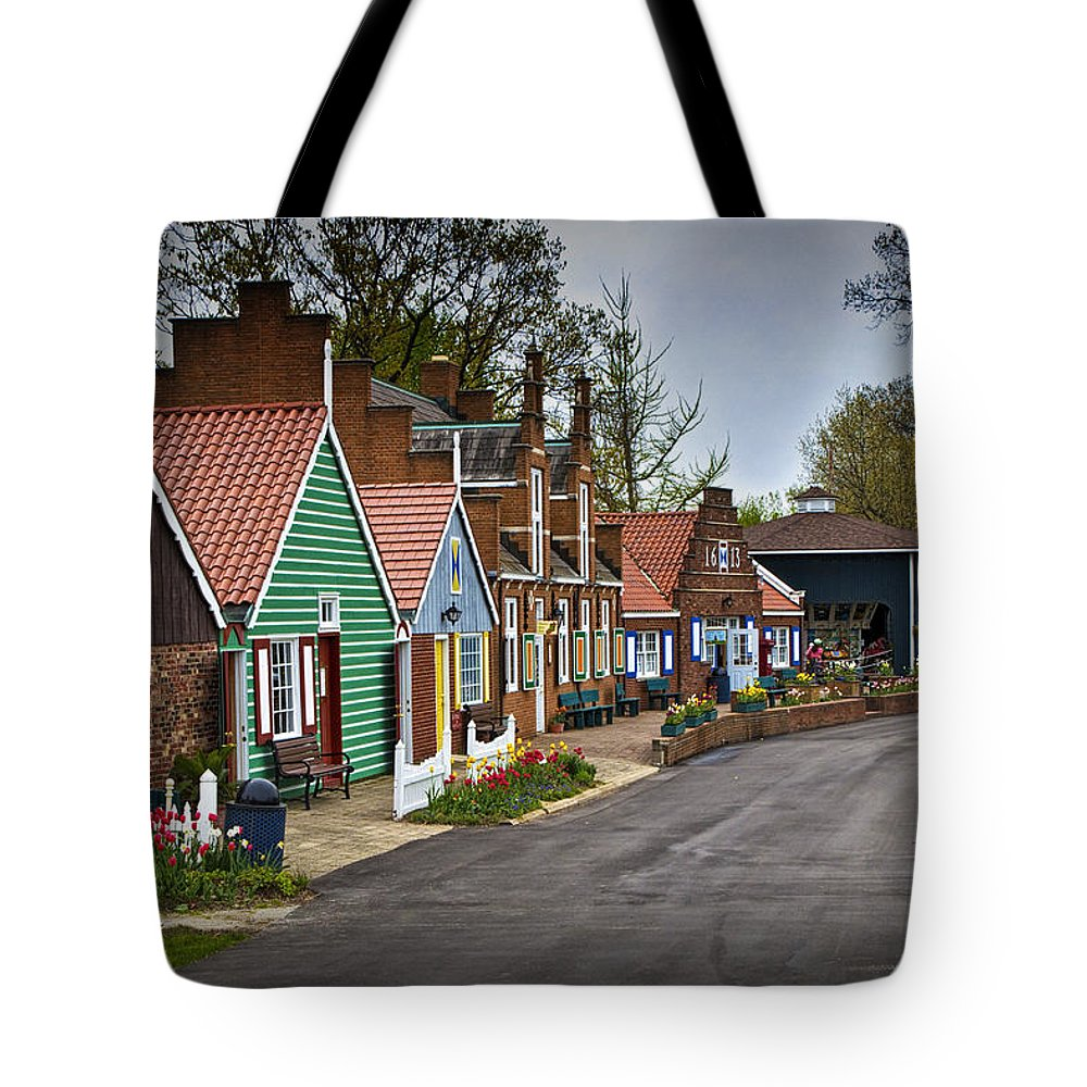 Art Tote Bag featuring the photograph Dutch Shops On Windmill Island In Holland Michigan by Randall Nyhof