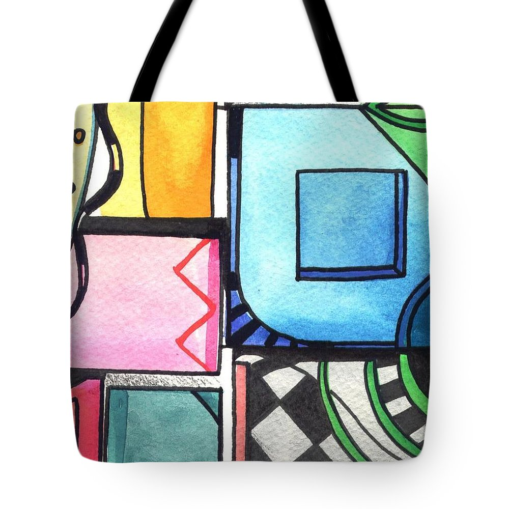 Geometric Tote Bag featuring the painting Dwelling In The Square by Helena Tiainen