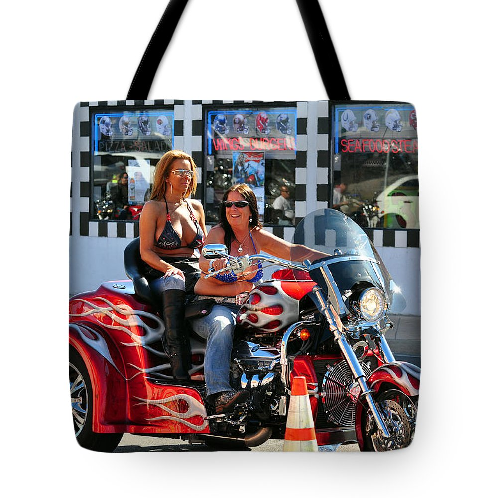 Dykes Tote Bag featuring the photograph Dykes On Trikes by Davids Digits