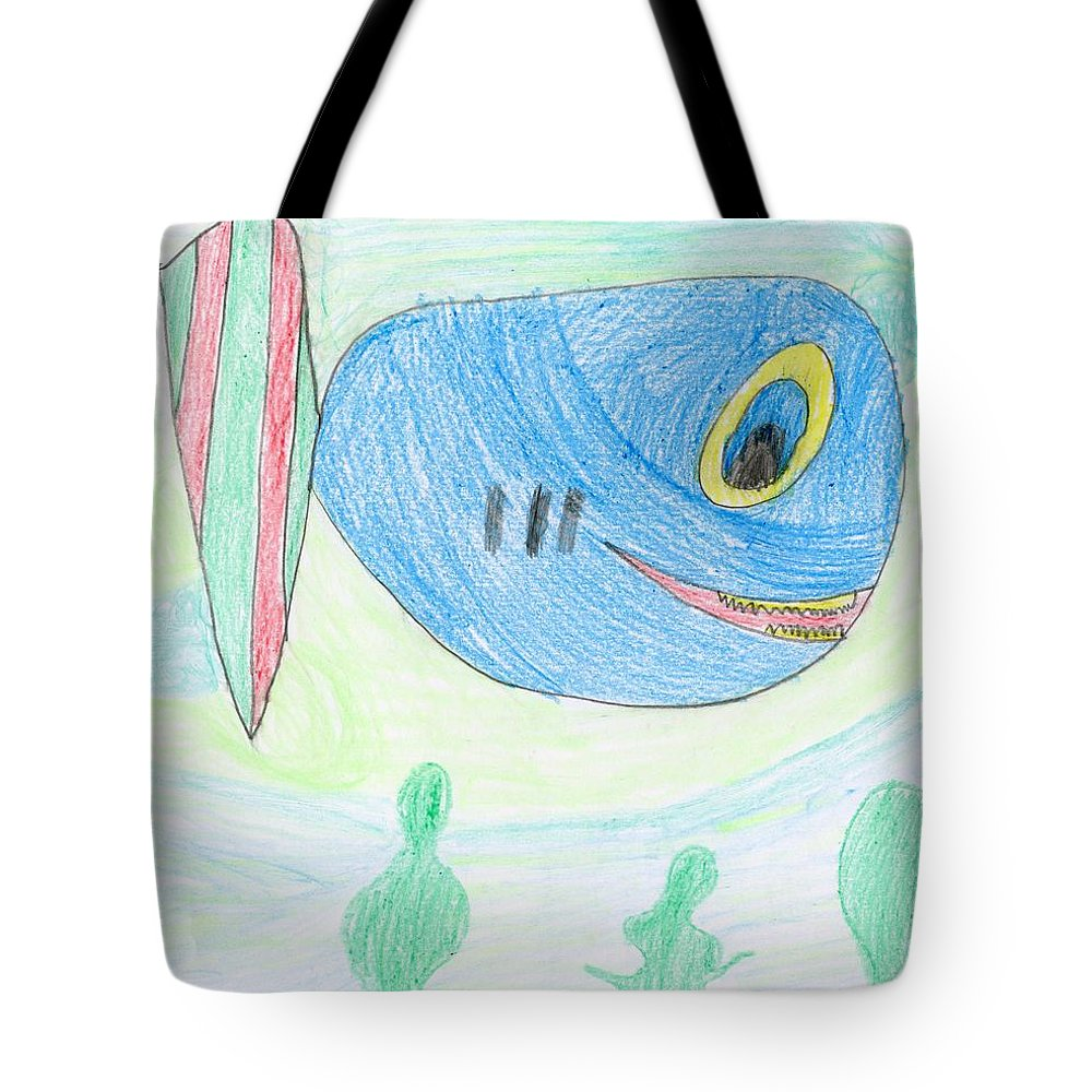 E's Blue Fish Tote Bag featuring the drawing E' S Blue Fish by Patsy Stanley