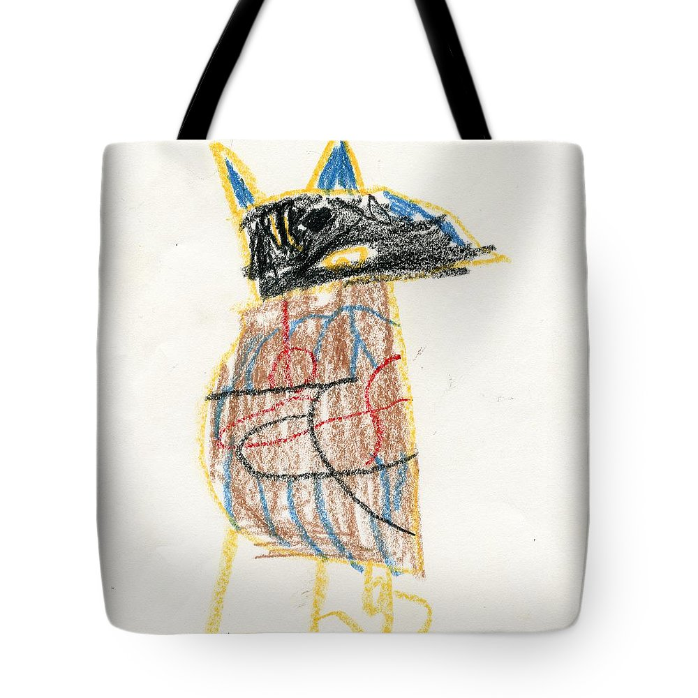 E's Crow Tote Bag featuring the drawing E's Crow by Patsy Stanley