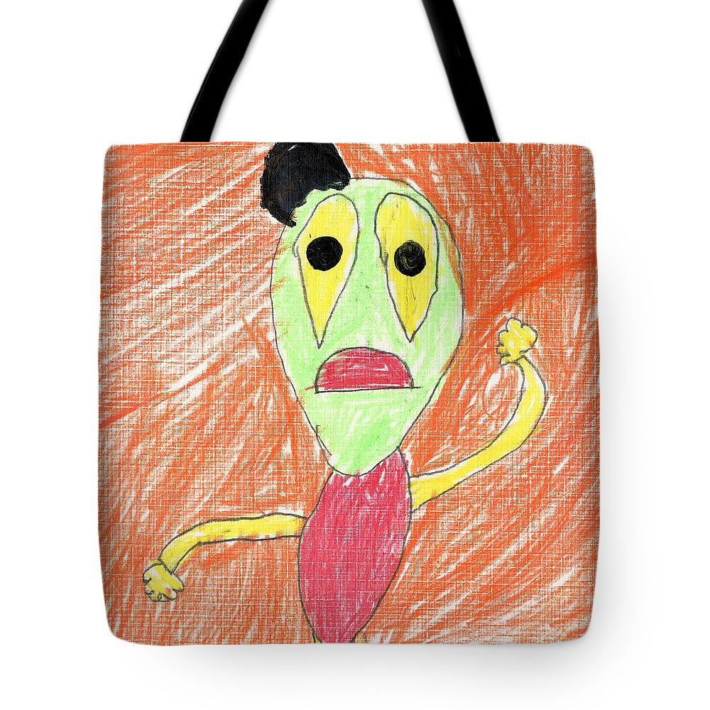 E's My Favorite Martian Tote Bag featuring the drawing E's My Favorite Martian by Patsy Stanley