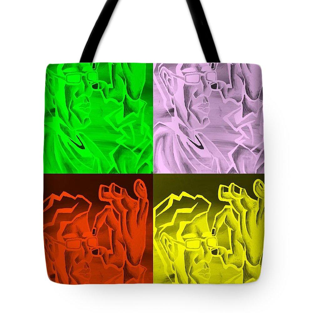 Portrait Tote Bag featuring the photograph E Vincent Negative Quad Colors by Rob Hans