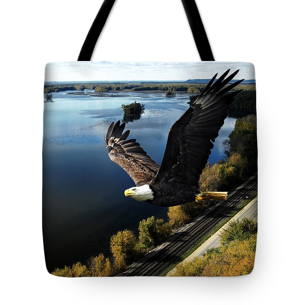 Eagle Flying Tote Bag featuring the photograph Eagle Over Mississippi by Randall Branham