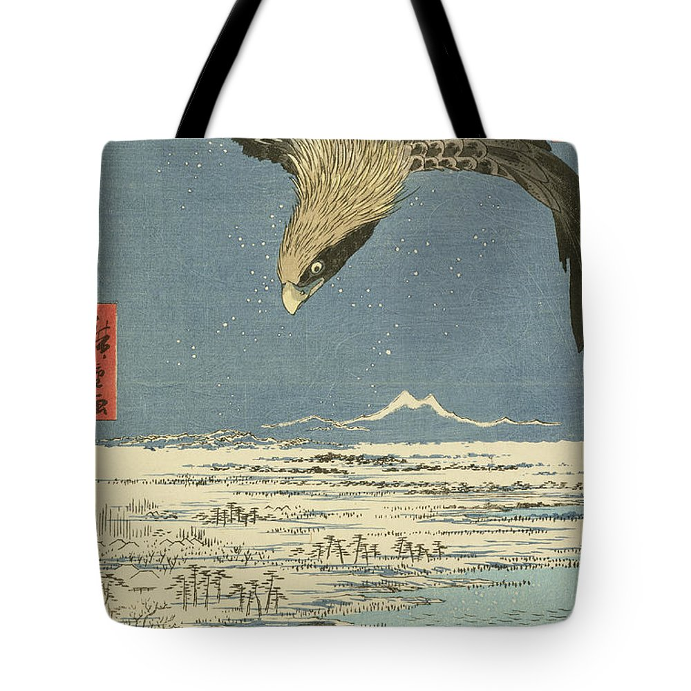 Japan Tote Bag featuring the painting Eagle Over One Hundred Thousand Acre Plain At Susaki by Hiroshige