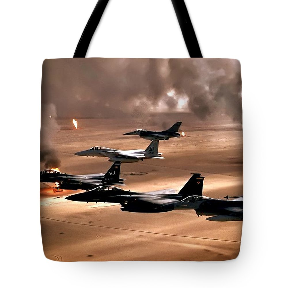 Air Force Tote Bag featuring the photograph Eagles And Falcons by Benjamin Yeager