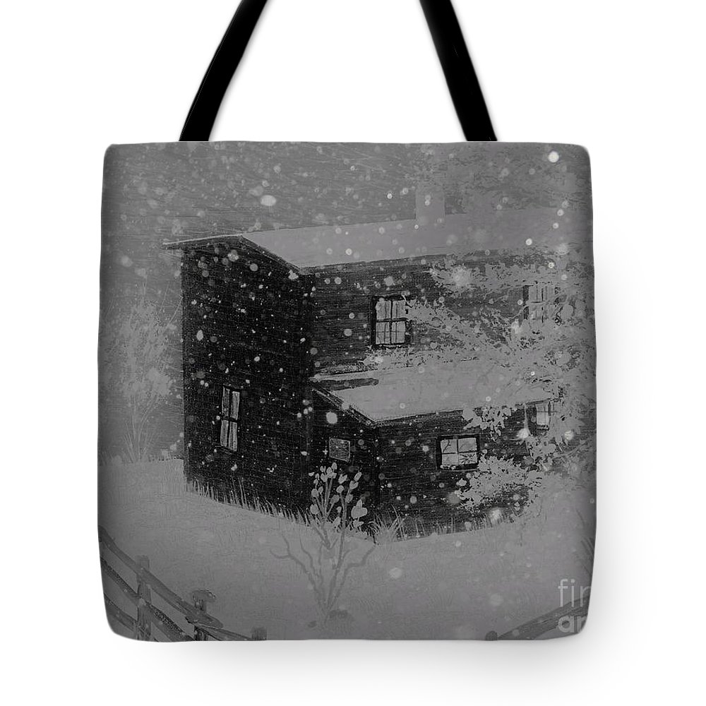 Early Blizzard At The Old Homestead Tote Bag featuring the painting Early Blizzard At The Old Homestead by Barbara Griffin