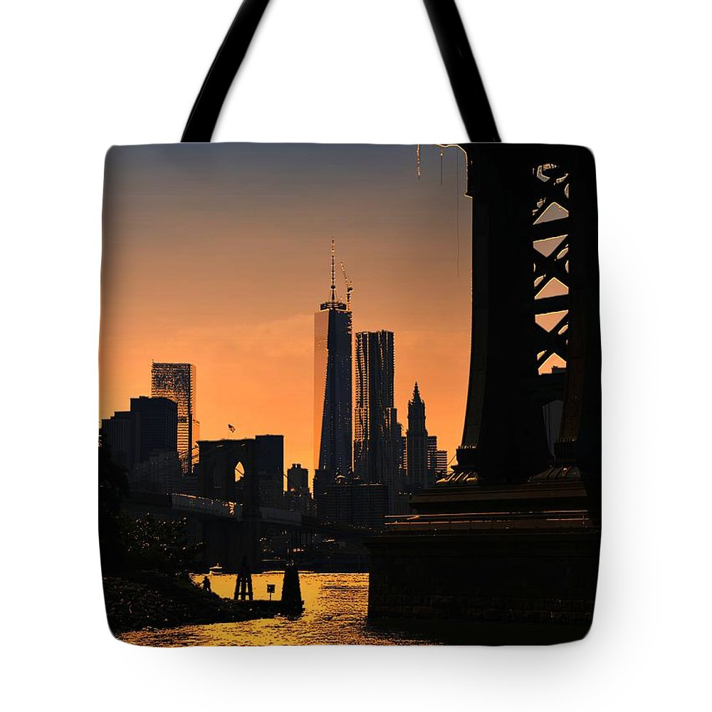 New York Tote Bag featuring the photograph Early Dusk by Jeff Watts