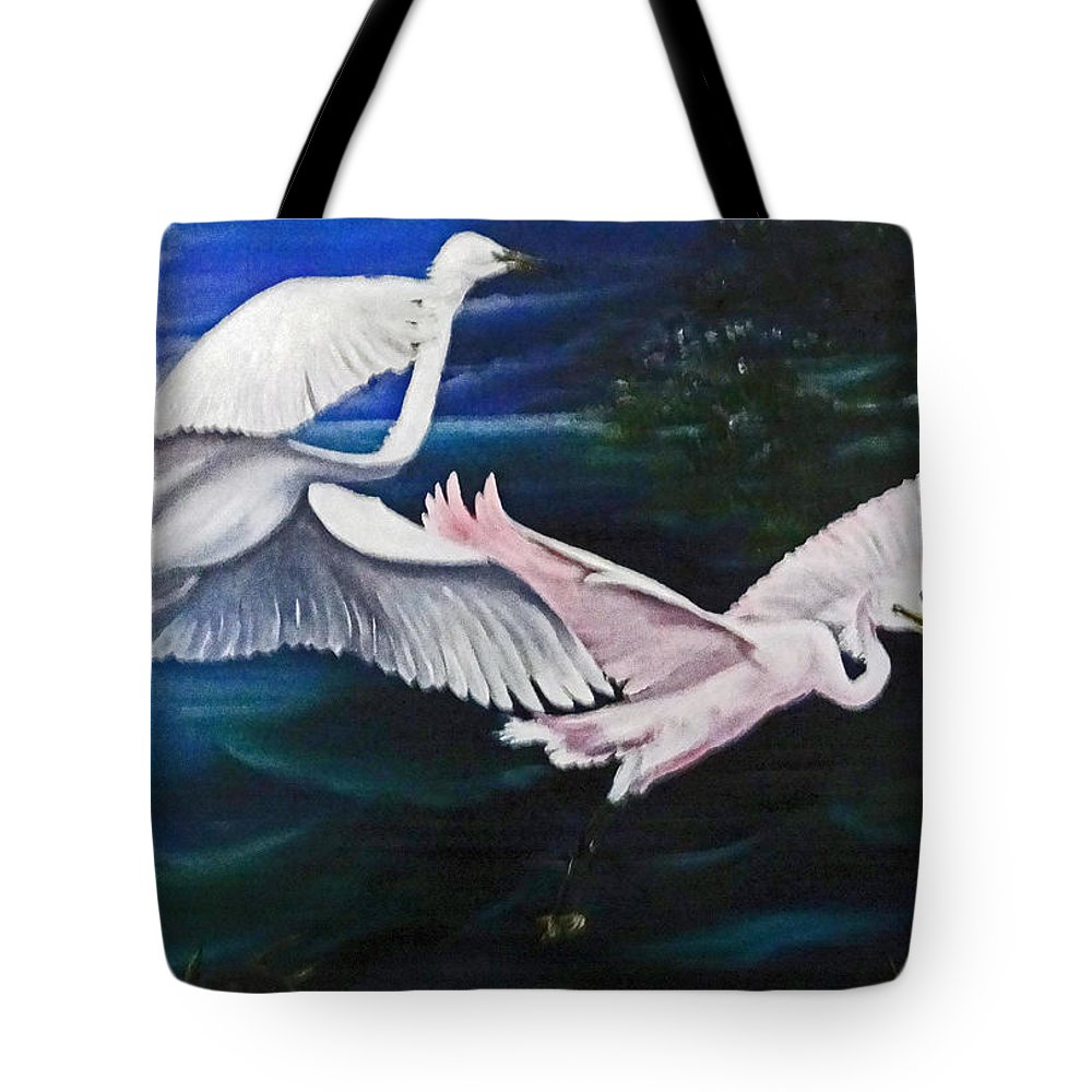 Snowy Egrets Tote Bag featuring the painting Early Flight by Karin Dawn Kelshall- Best