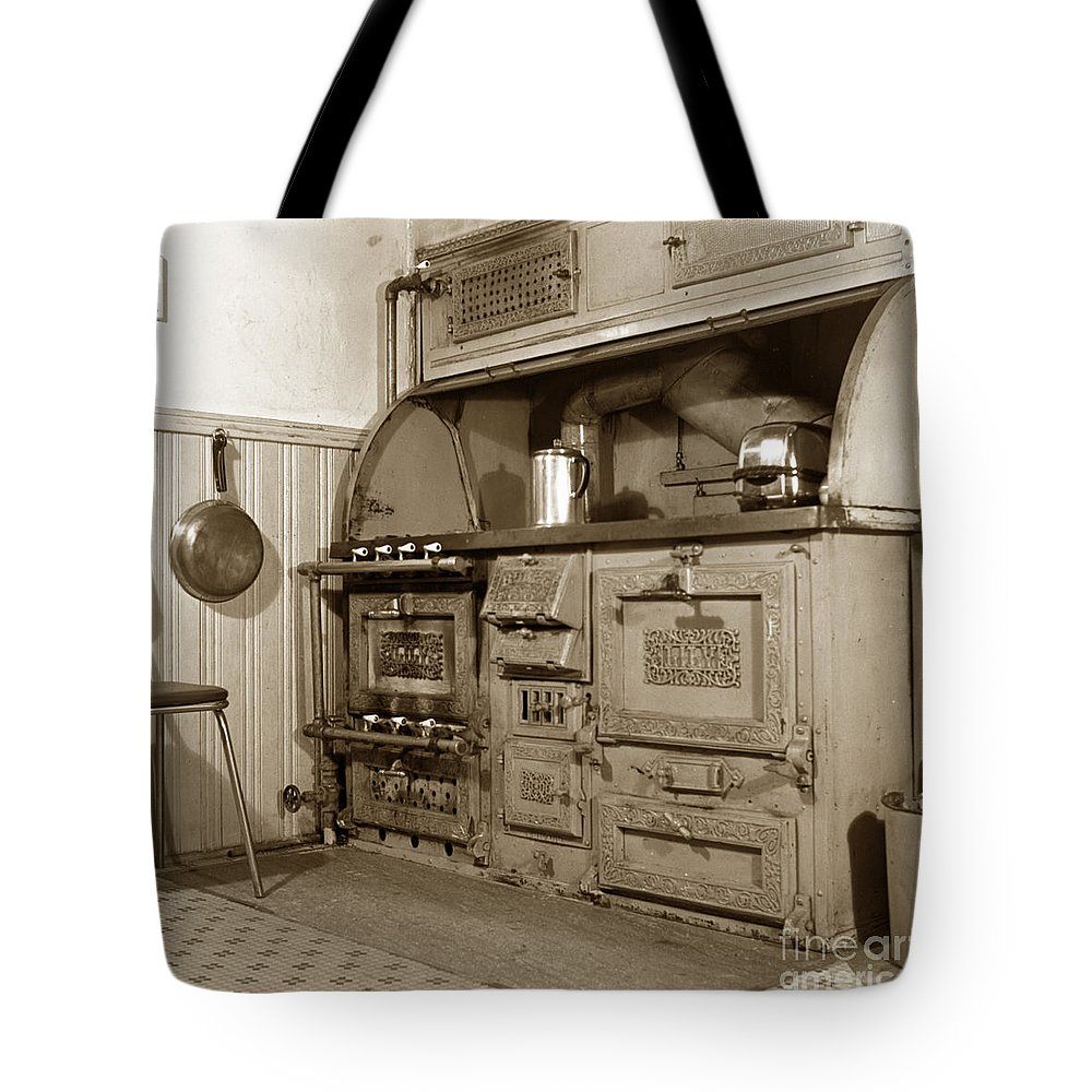 Early Tote Bag featuring the photograph Early Kitchen With A Gas Stove 1920 by California Views Archives Mr Pat Hathaway Archives