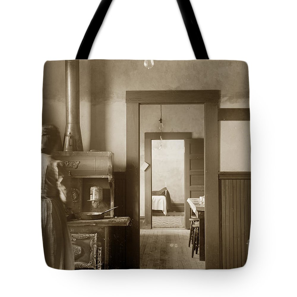 Wood Kitchen Tote Bag featuring the photograph Early Kitchen With A Wood Kitchen Stove Circa 1906 by California Views Archives Mr Pat Hathaway Archives