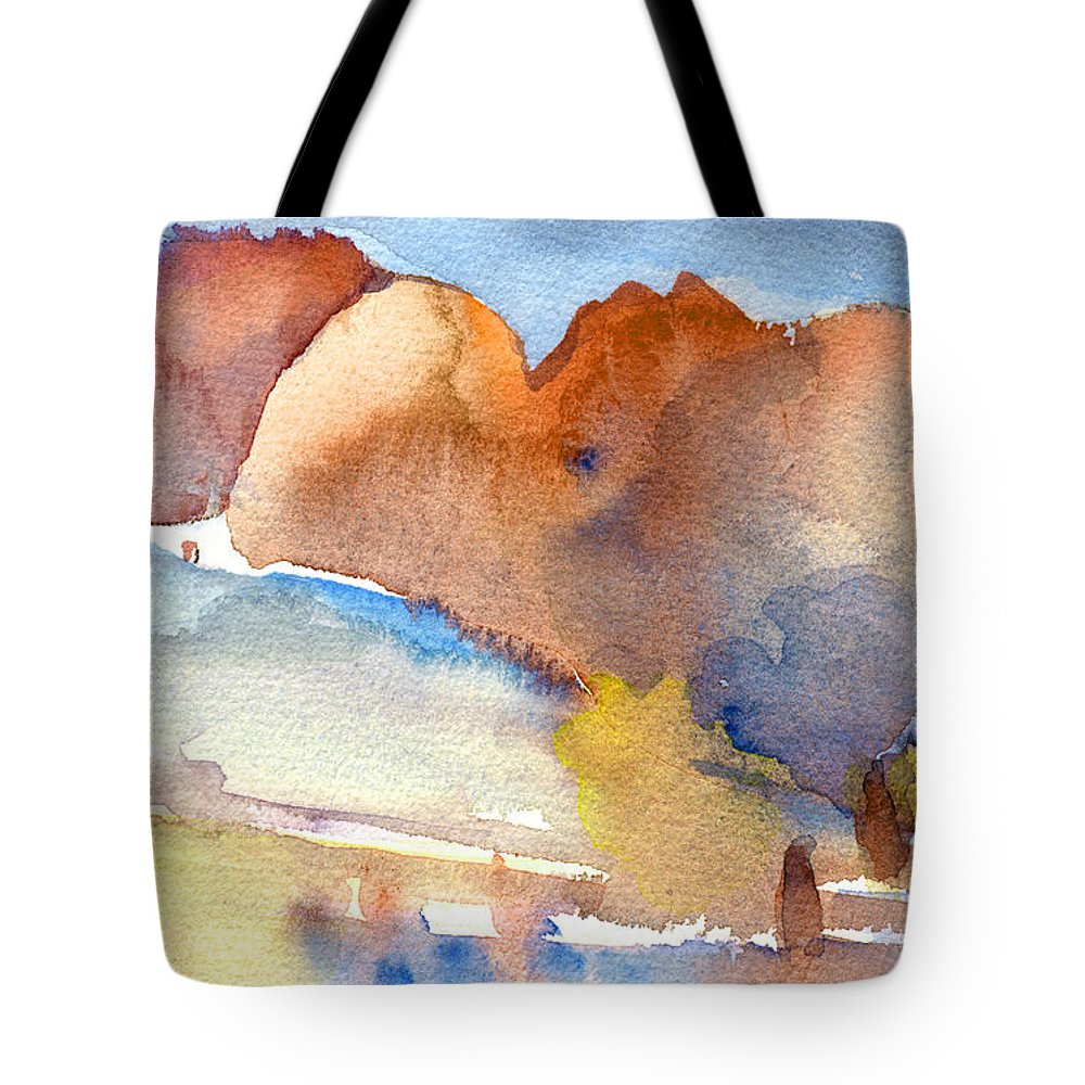 Landscapes Tote Bag featuring the painting Early Morning 55 by Miki De Goodaboom