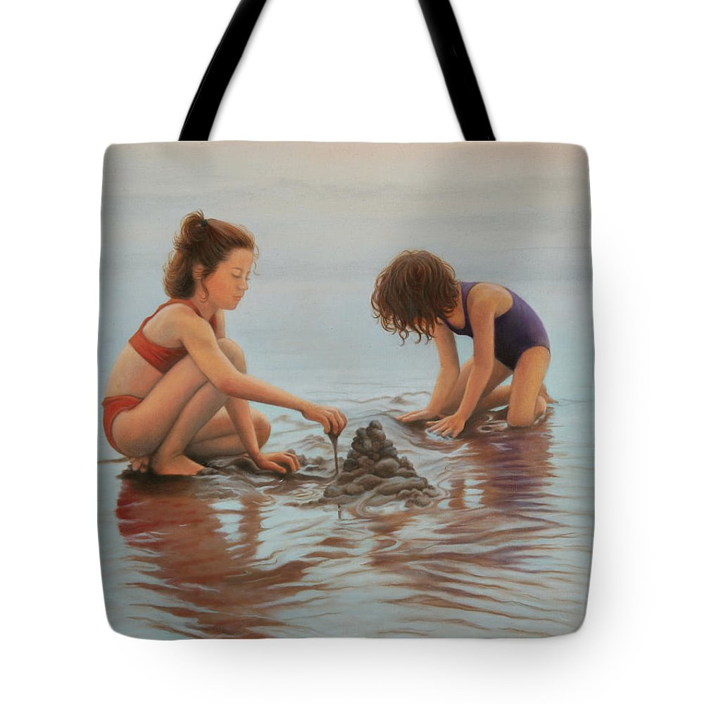 Realistic Tote Bag featuring the painting Early Morning Architects by Holly Kallie