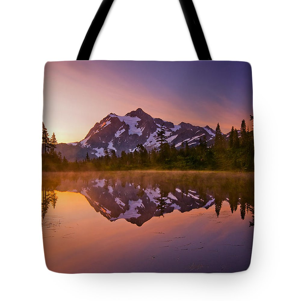 Sunrise Tote Bag featuring the photograph Early Morning At Picture Lake by Darren White