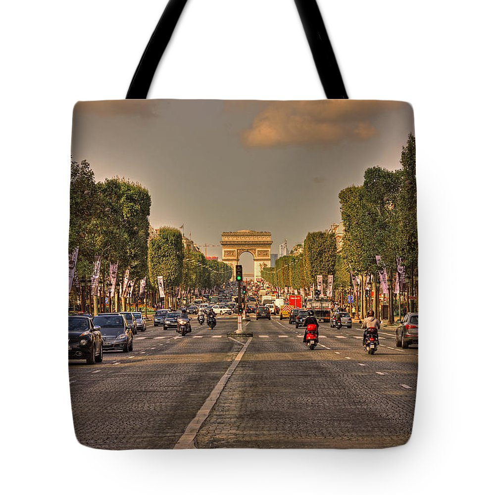 Street Tote Bag featuring the photograph Early Morning Champes Elysees by Hany J