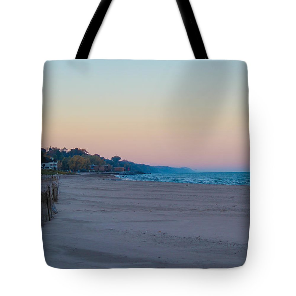 St. Joseph Michigan Tote Bag featuring the photograph Early Morning Deserted Beach by Harold Hopkins