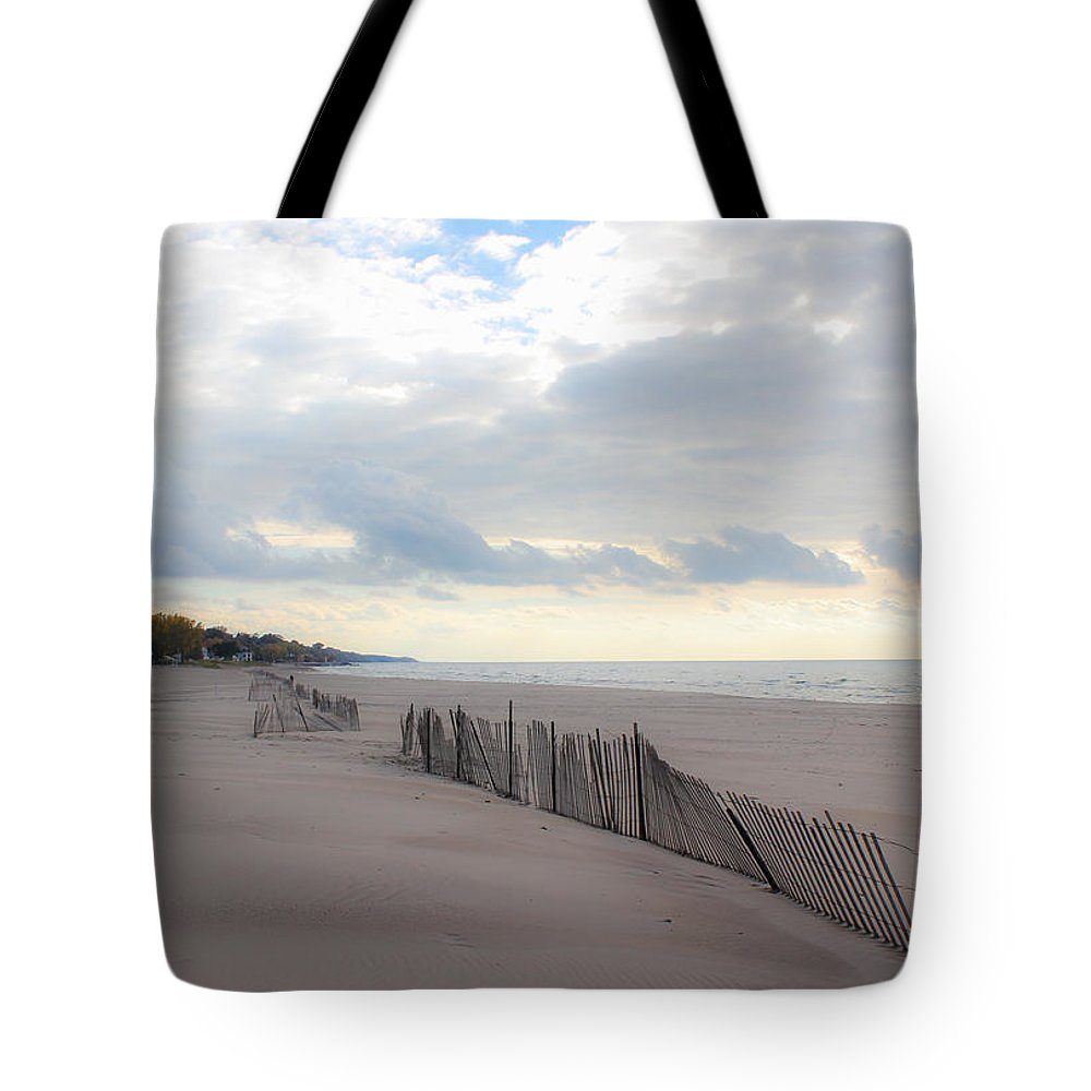 St. Joseph Michigan Tote Bag featuring the photograph Early Morning Empty Beach by Harold Hopkins
