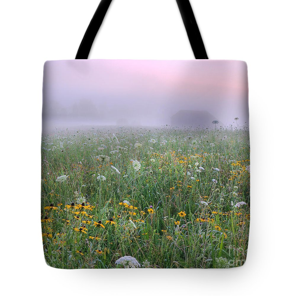 Flowers Tote Bag featuring the photograph Early Morning Meadow by Wanda Krack