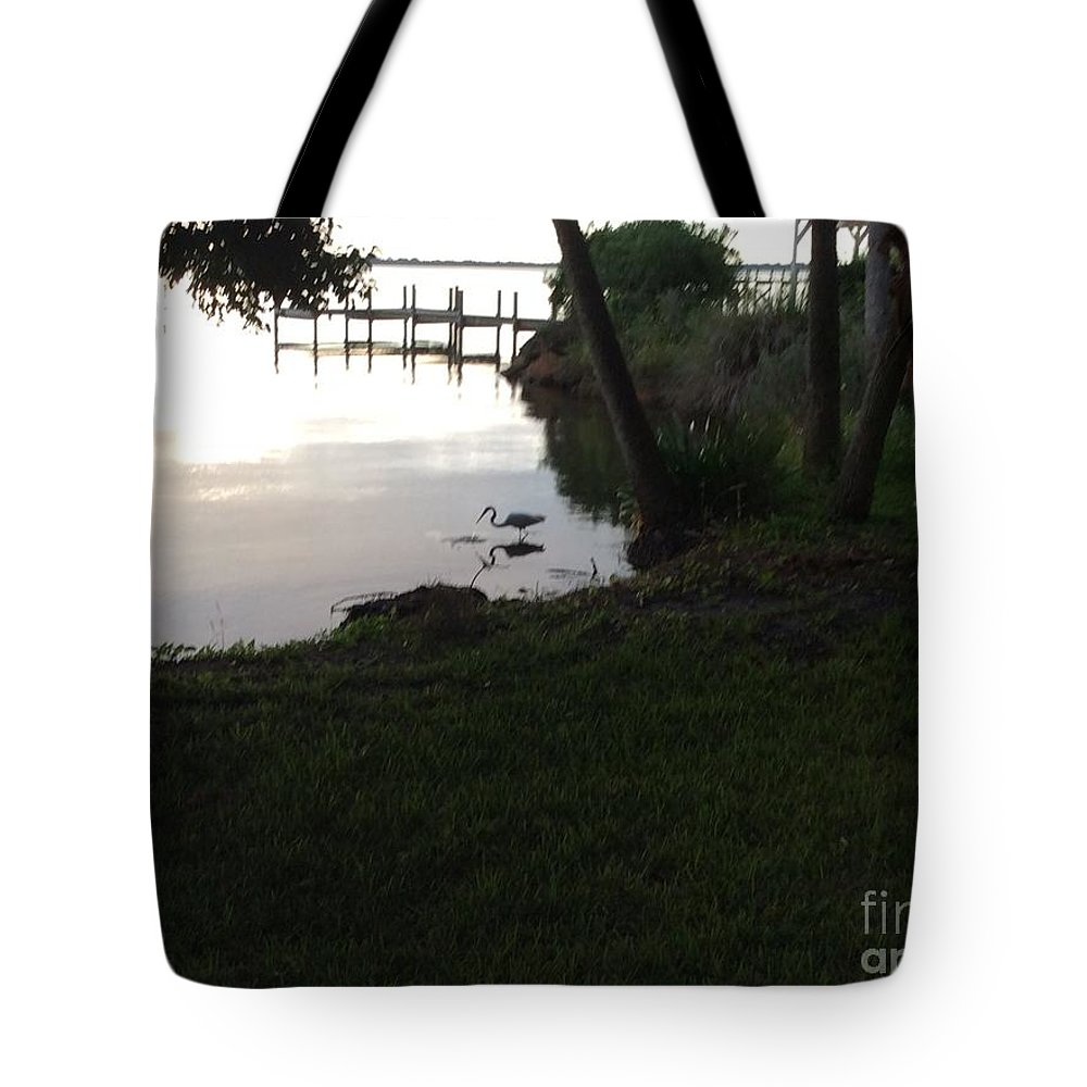 Heron Tote Bag featuring the photograph Early Morning Meal by Donna Spencer