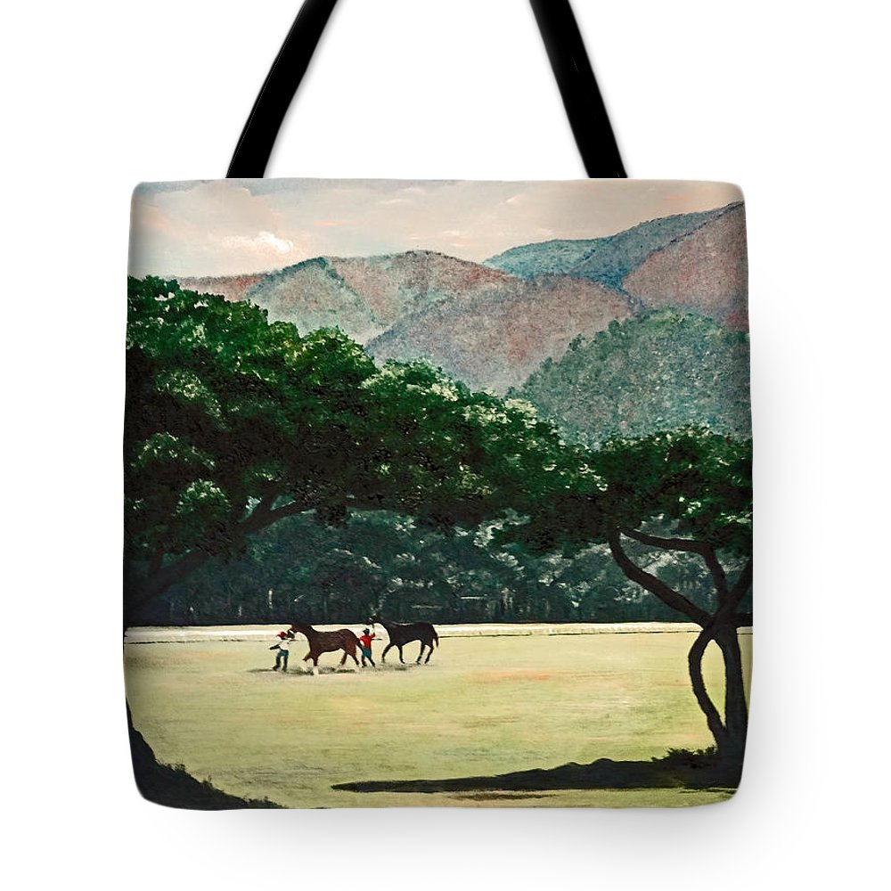 Trees Tote Bag featuring the painting Early Morning Savannah by Karin Dawn Kelshall- Best